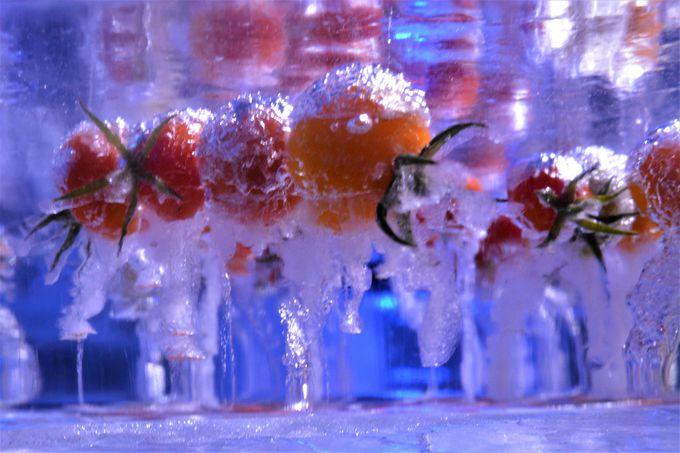 存在感のある中央の氷でできたテーブル