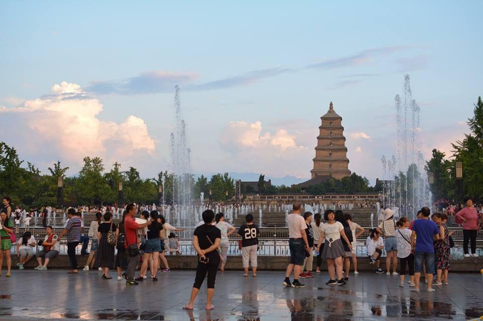 噴水ショーが美しい 大雁塔