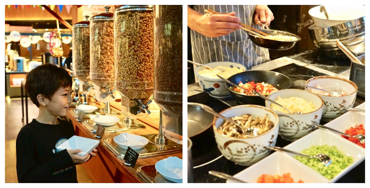 キッズスペース付きのレストランで優雅に朝食