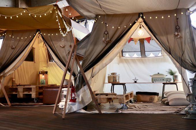 好きなテントを選ぼう!屋内でキャンプ体験
