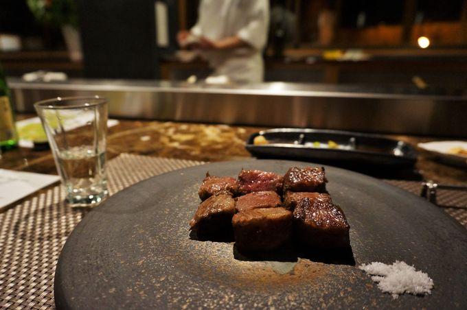 目の前で繰り広げられる大分食材の鉄板焼き!