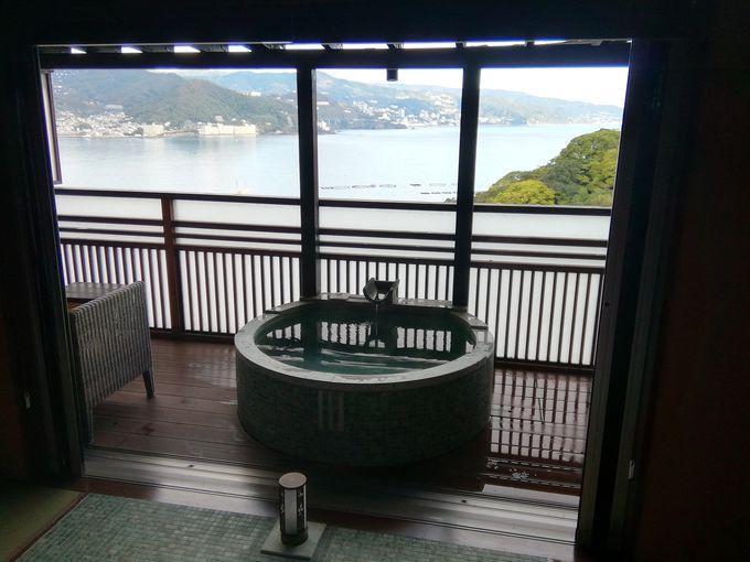 眺望を楽しむ朝風呂は、部屋からも大浴場からも楽しめる!