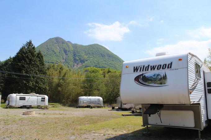 由布岳を望むロケーションに5台ものトレーラーハウスが!