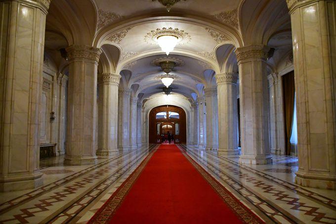 館内の回廊に敷かれた衝撃の大きさのカーペット