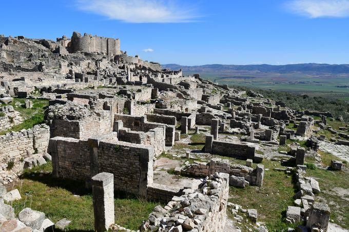 ローマ人の居住区と羊たち
