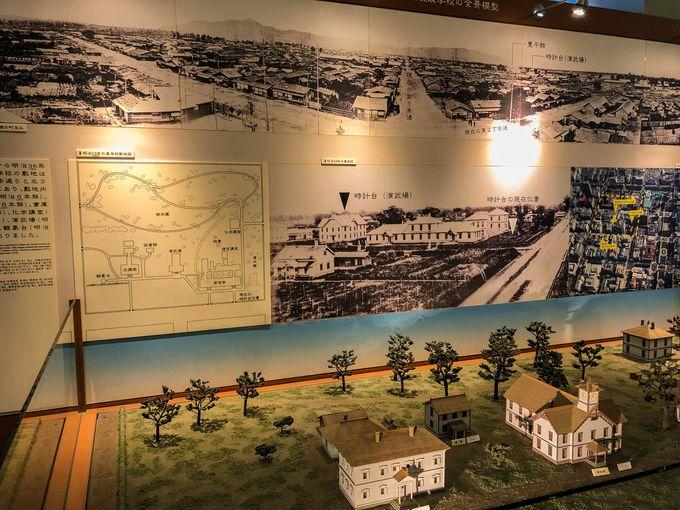 時計台の歴史が並ぶ一階の展示室