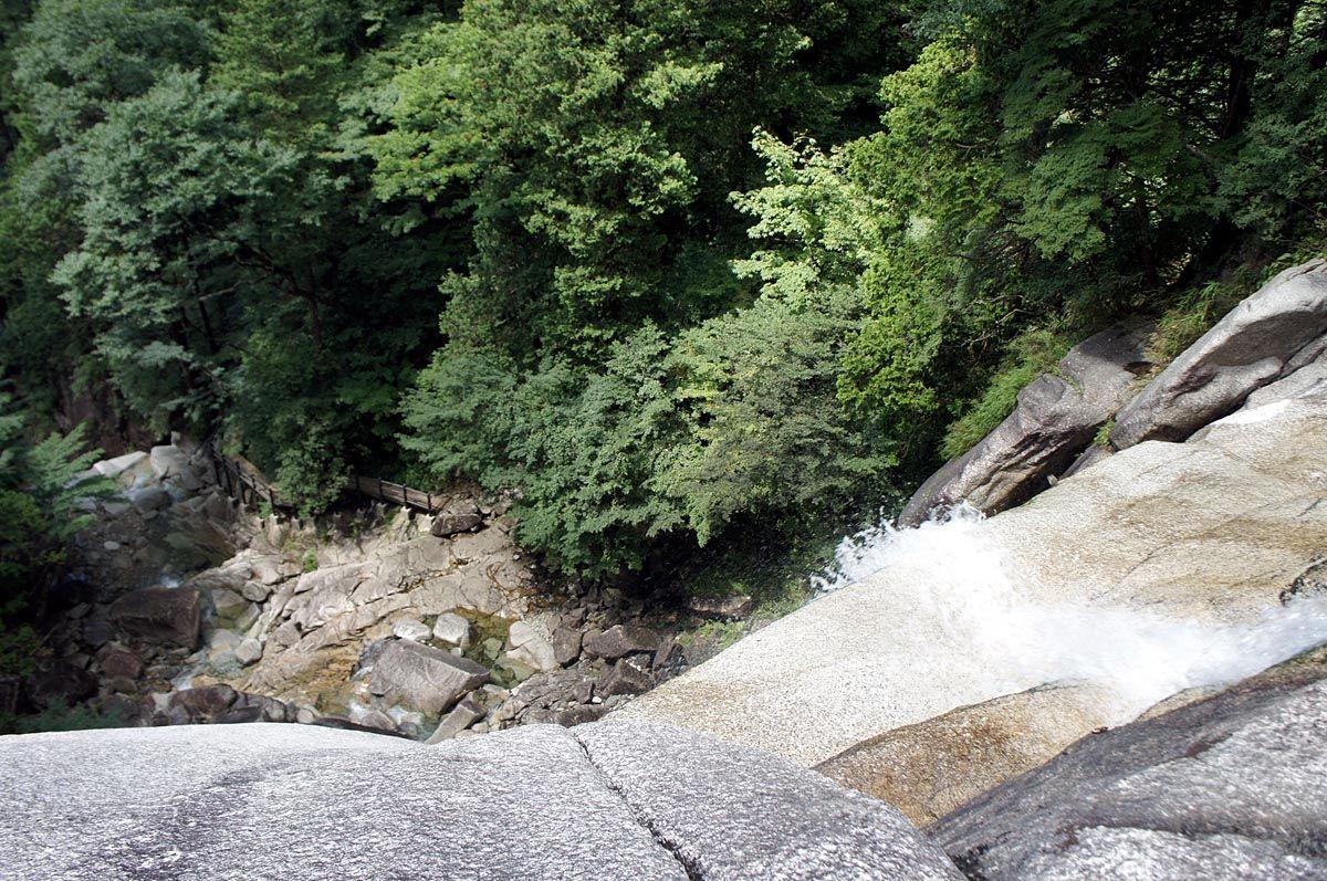 足がすくむ滝の上からの眺望