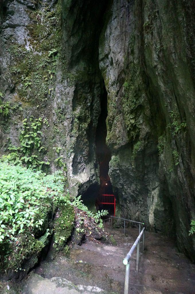 入口は谷底の巨大な大地の割れ目