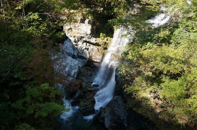 安居渓谷のスタートは「みかえりの滝」から