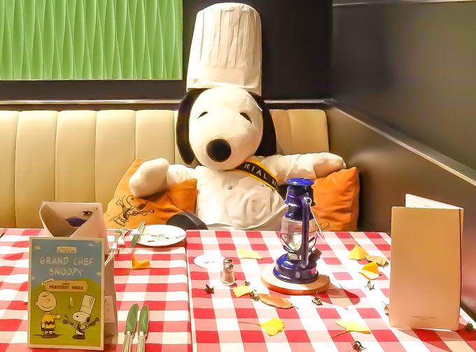 パークサイドダイナーで料理長スヌーピーがお出迎え