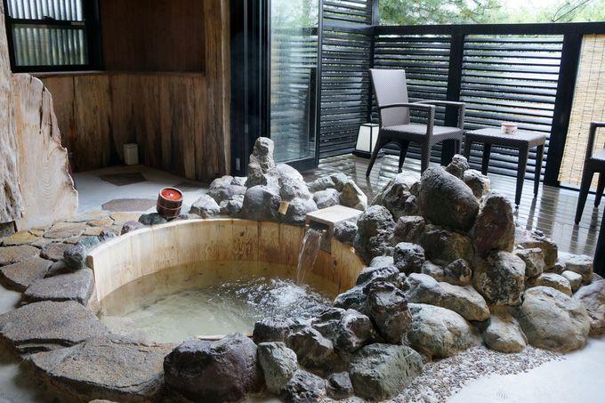 全ての客室に源泉掛け流しの温泉付き