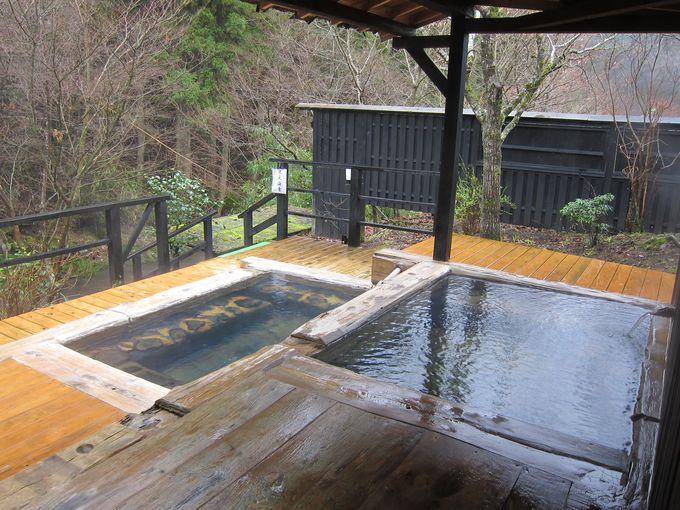 渓流沿いの露天風呂や貸切風呂を楽しもう!