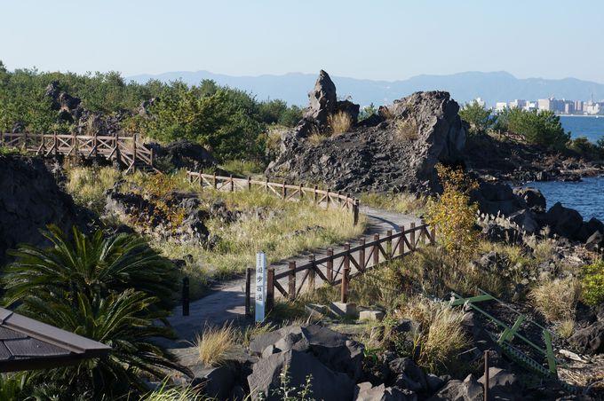 溶岩なぎさ公園 全長100メートルの絶景足湯