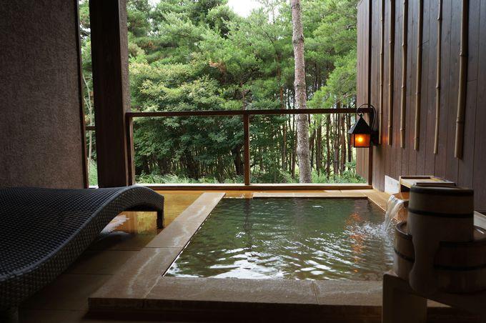露天風呂付き客室「宿膳虎白 久織亭」は女子旅にも快適