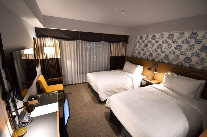 広々とした客室、こだわりのベッドとバスルーム