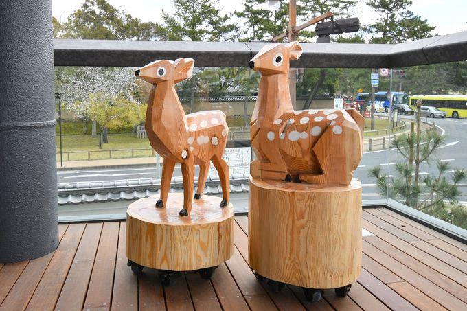 大通りから見つけやすい店舗、奈良伝統の暖簾と鹿がお出迎え