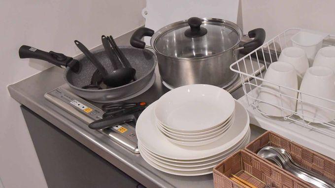全室に本格的なキッチンがあってキッチン道具も完備