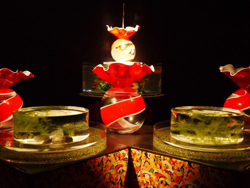 ヴェネツィアガラスの金魚は、アートな金魚鉢