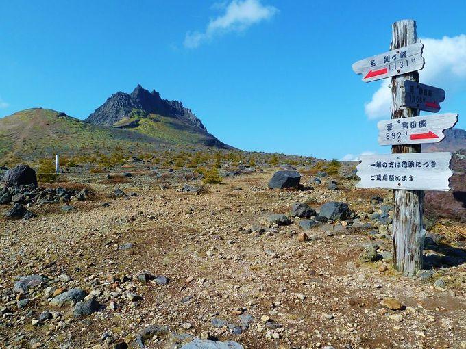 標高900mの「馬ノ背」から臨む、山頂「剣ヶ峰」