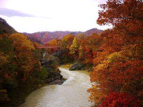 竜仙峡・千鳥ヶ滝に紅葉広がる夕張川の渓谷美「滝の上公園」