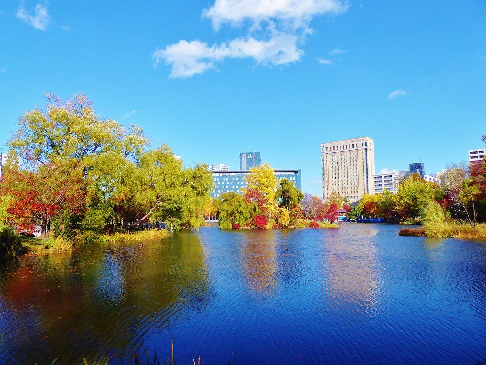 ビル群と紅葉を映し出すのは、北海道開拓の舞台「菖蒲池」