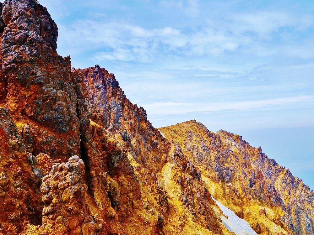 緑から茶色の景色へと変わってゆく登山道