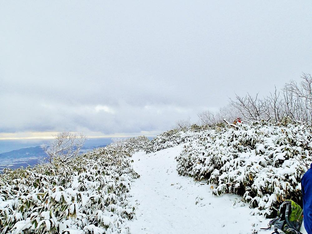 入山届を提出し雪の登山道へ