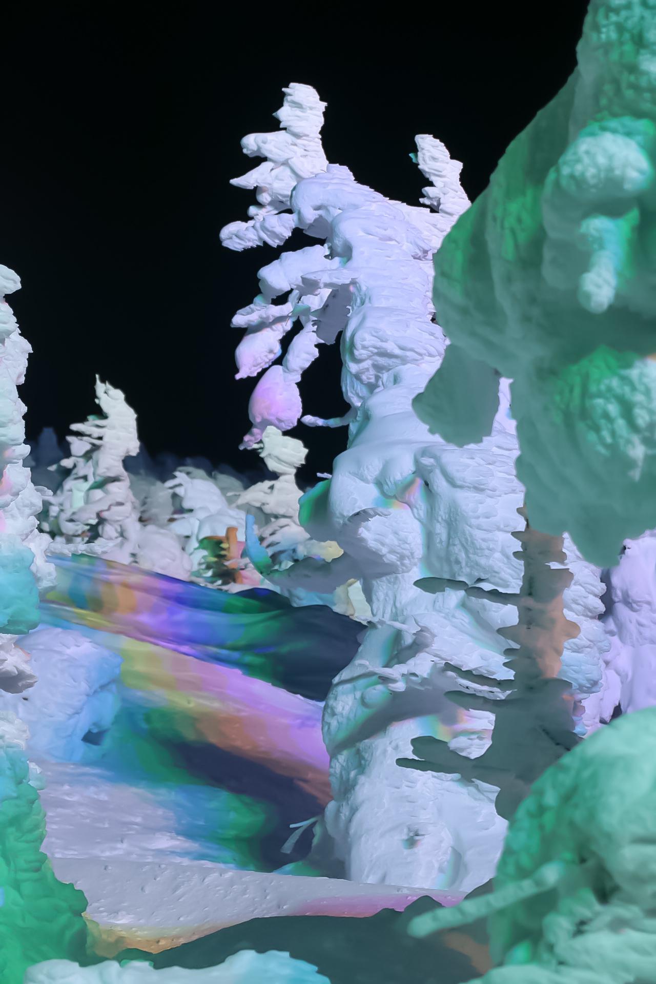 まるで異世界!?地蔵山頂駅の幻想的な「樹氷ライトアップ」