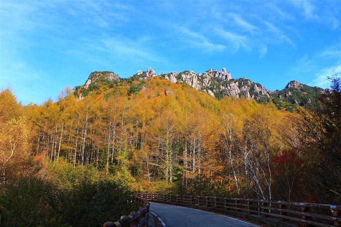釜瀬川を横切る瞬間が見事!要塞のような瑞牆山と山麓紅葉