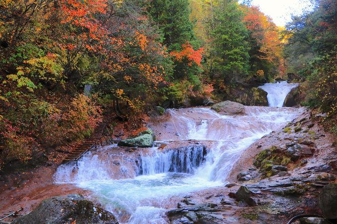 御射鹿池から徒歩で!晩秋の趣香る「おしどり隠しの滝」