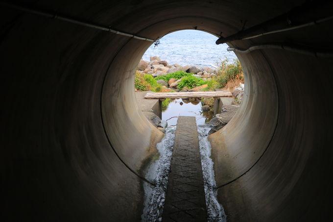 導線が面白すぎる!土管を潜って温泉へ?
