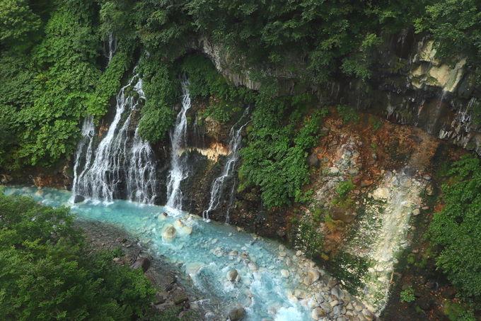 十勝岳が作り出した大自然の芸術。「白ひげの滝」