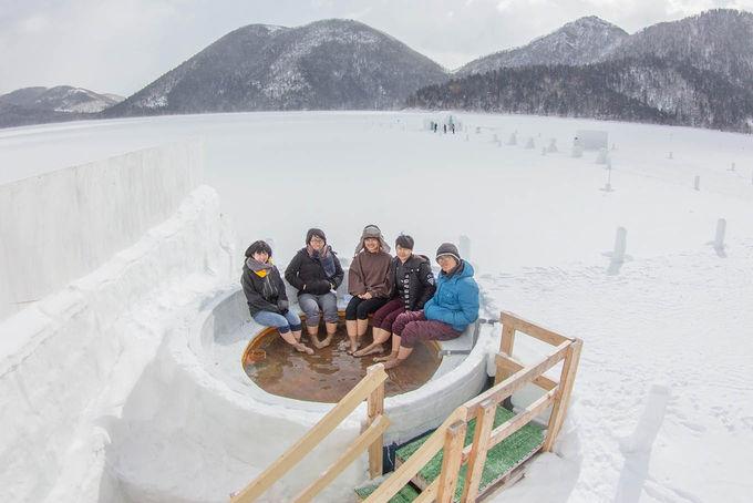 コタン名物「氷上露天風呂」から純白の世界を堪能する