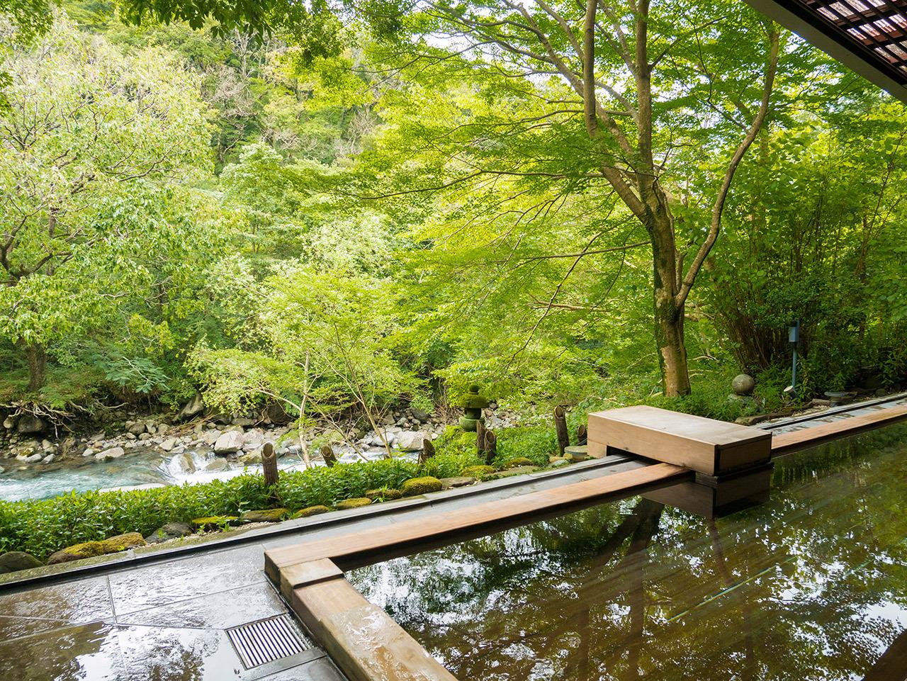 大浴場で楽しむ箱根の渓流