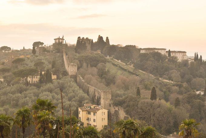 足元から延びている城壁の先には小高い丘