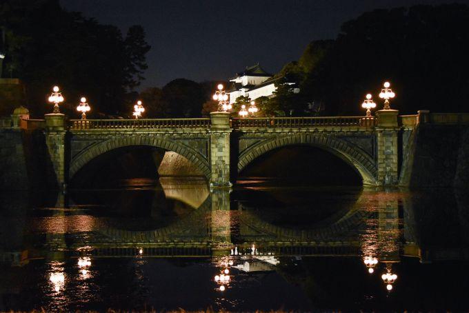 写真に撮りたい!正門石橋と伏見櫓は夜も人気