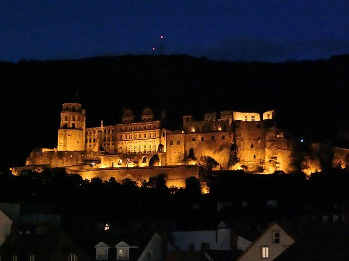 ハイデルベルク城のライトアップ