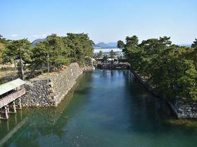 瀬戸内海のブルーと松並木のグリーンを殿様気分で高松城から望む