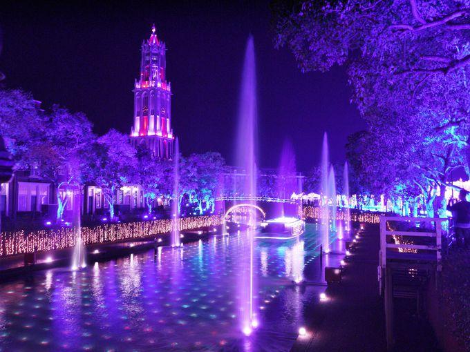 虹色に輝く「光と噴水の運河」