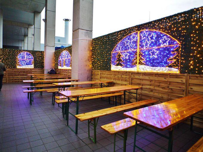 ドイツ・クリスマスマーケット大阪にはゆっくりとお食事できるスペースも