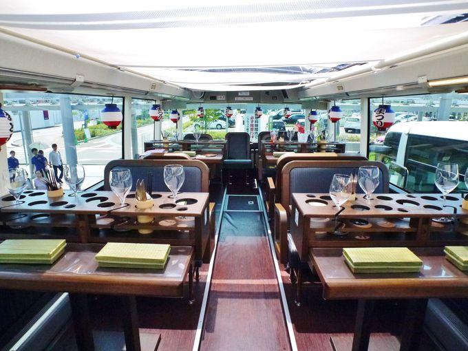 二階建てバスがそのまま「走るレストラン」に!