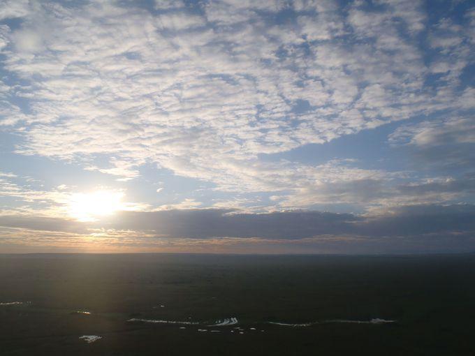 上空から朝日を!