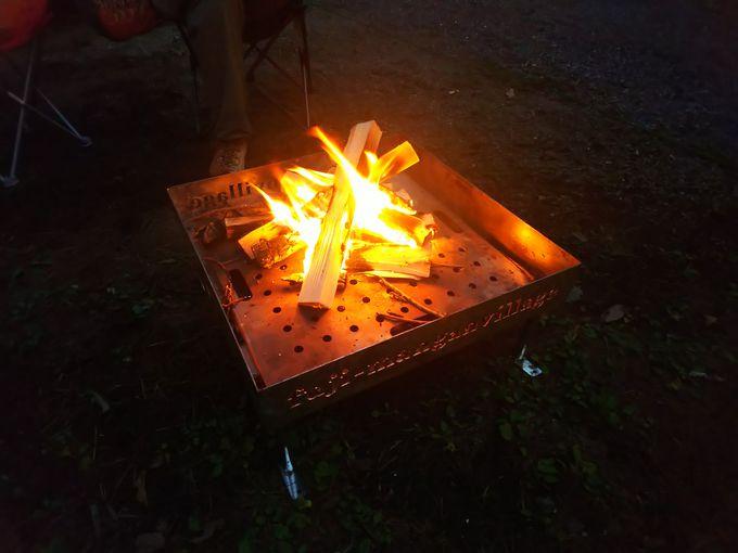 各サイトに無料で置かれている焚き火が嬉しい!