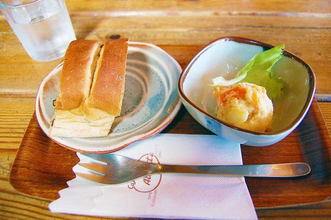 """""""窯やきパン""""が付く、モーニングセット450円!"""