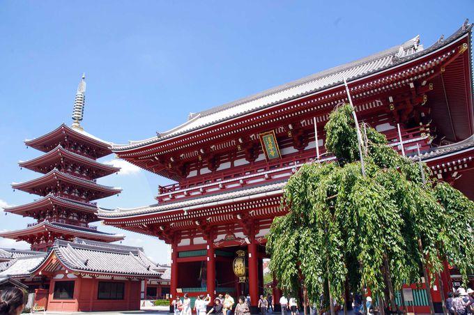 浅草寺のシンボルタワー「五重塔」と「宝蔵門」