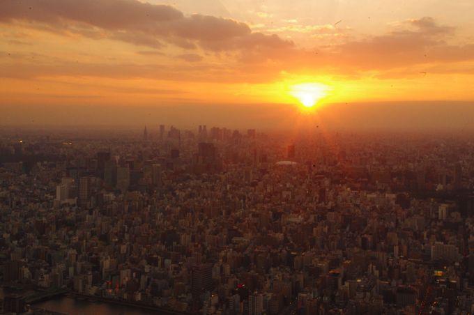 東京の街をオレンジの光で包み込む「スカイツリーの夕陽」