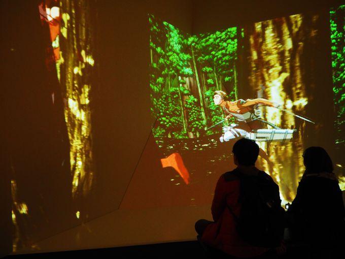 L字型立体スクリーンで森を飛ぶ爽快感を体感