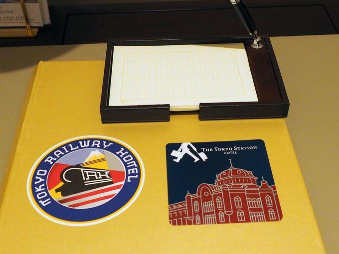 全客室に置かれた、キュートなステッカー&原稿用紙のメモ