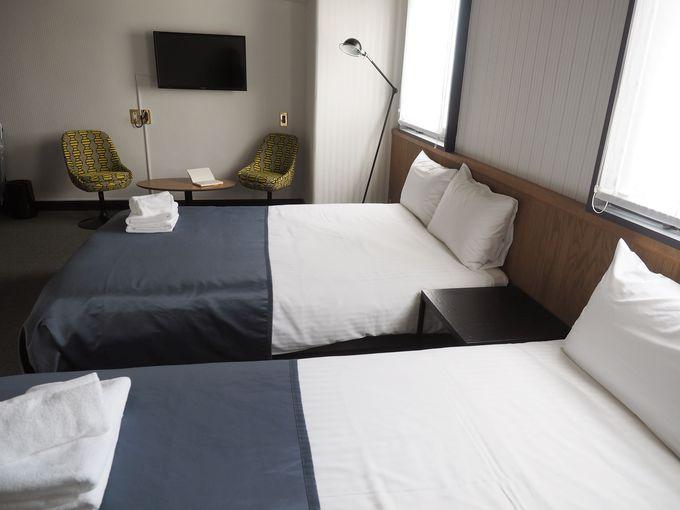 シンプルで使いやすい客室。バスアメニティーにはこだわりが