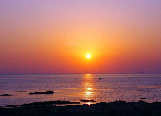 「まるは食堂旅館」から眺める美しい夕日
